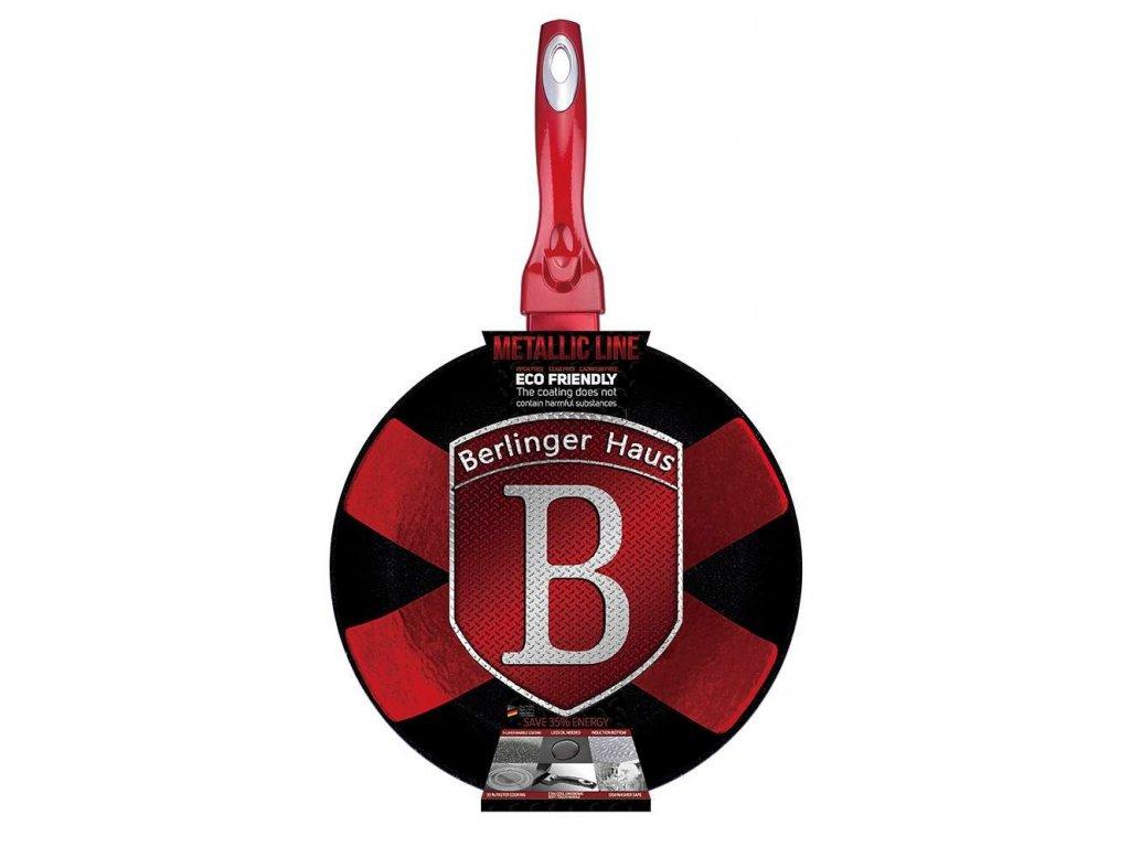 Panvica Berlingerhaus BH-1252  Metallic Line červená s mramorovým povrchem 24 cm červená