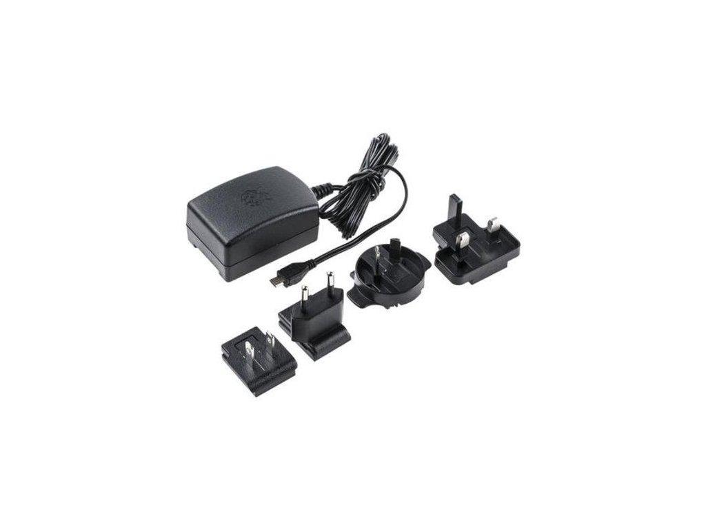 Zdroj Raspberry 5V, 2,5 A, micro USB, čierny