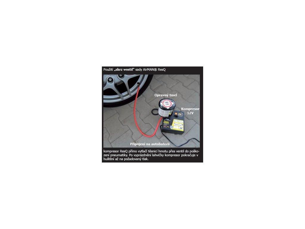 "Kompresor airMAN ResQ Pilot (opravná sada na pneumatiku 12""-17"") 300ml"