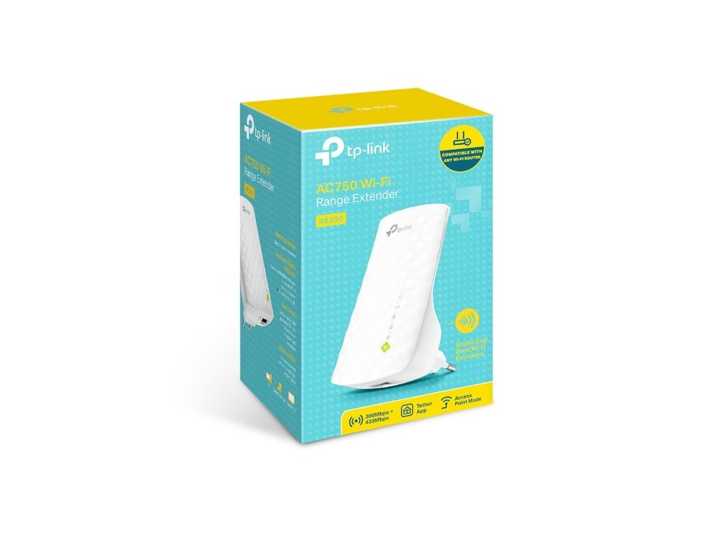 WiFi router TP-Link RE200 AP/Extender/Repeater - AC750, 1x LAN