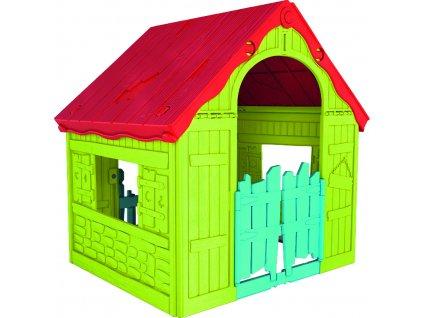 Záhradný domček Keter WONDERFOLD PLAYHOUSE červený / zelený / modrý