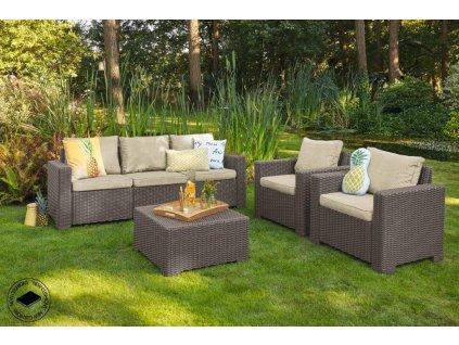 Záhradný nábytok Keter California set stôl + 2 kreslá + trojsedadlová pohovka Cappuccino