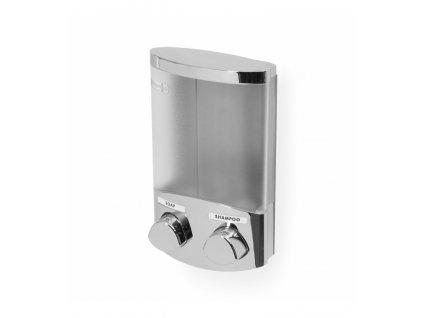 Dávkovač Compactor Duo mydla / šampónu alebo dezinfekcie na stenu, chróm plast, 2 x 310 ml, RAN6016