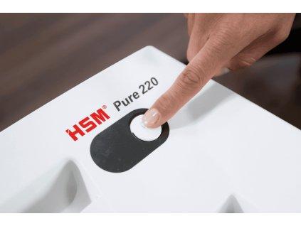 Skartovač HSM Pure 220 P-2, 3,9mm, 13 listů, 20l, Credit Card, Sponky