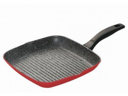 Panvica Stoneline WX-13649 grilovacia s mramorovým povrchom 28 cm, červená