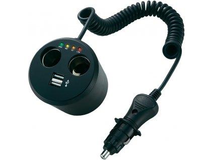 Napájací adaptér rozbočka pro autozásuvky , 10 A, s 2 x USB a indikací stavu baterie