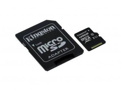Pamäťová karta Kingston microSDXC CL10 UHS-I 128GB, 80R + SD adaptér