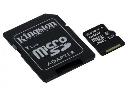 Pamäťová karta Kingston microSDXC CL10 UHS-I 64GB, 80R + SD adaptér