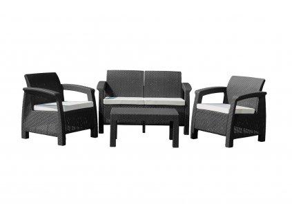 Záhradný nábytok G21 MOANA FAMILY imitácia ratanu, čierny (2+1+1)